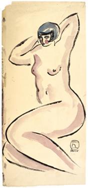 《坐姿裸女》    1920/30 年代作,水墨、水彩纸本, 44 x 20 公分