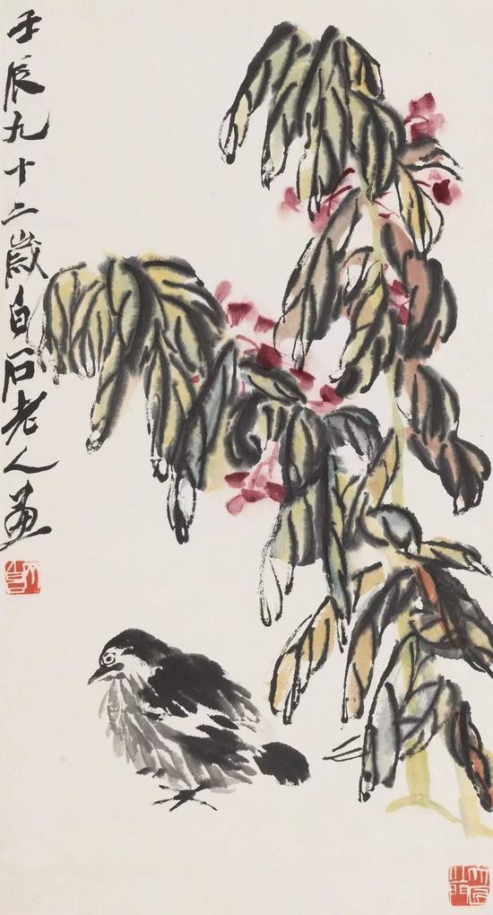 齐白石 老少平安    纸本立轴 1952年作    尺寸:69×37cm