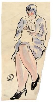 常玉( 1901 – 1966)    《紫洋装女士》    1920/30 年代作,水墨、水彩纸本, 39.4 x 19.7 公分