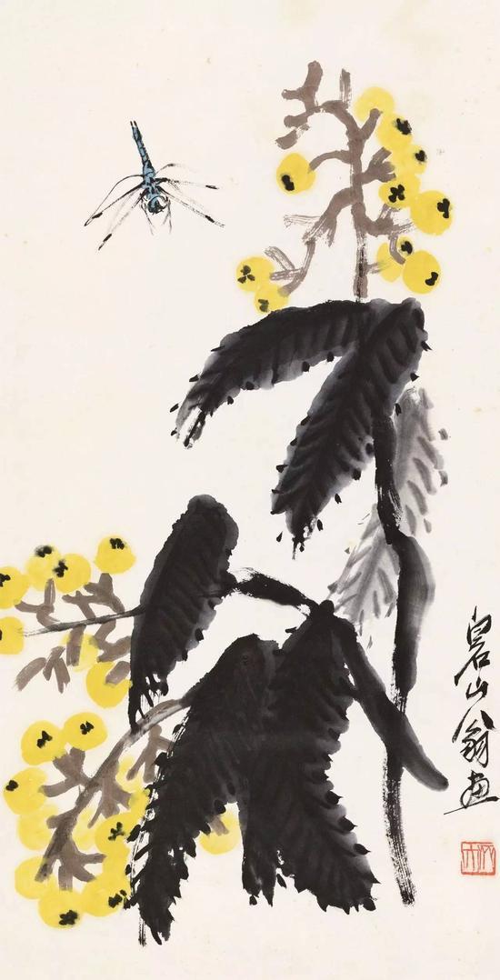 齐白石 蜻蜓枇杷     纸本立轴   尺寸:67×34.5cm