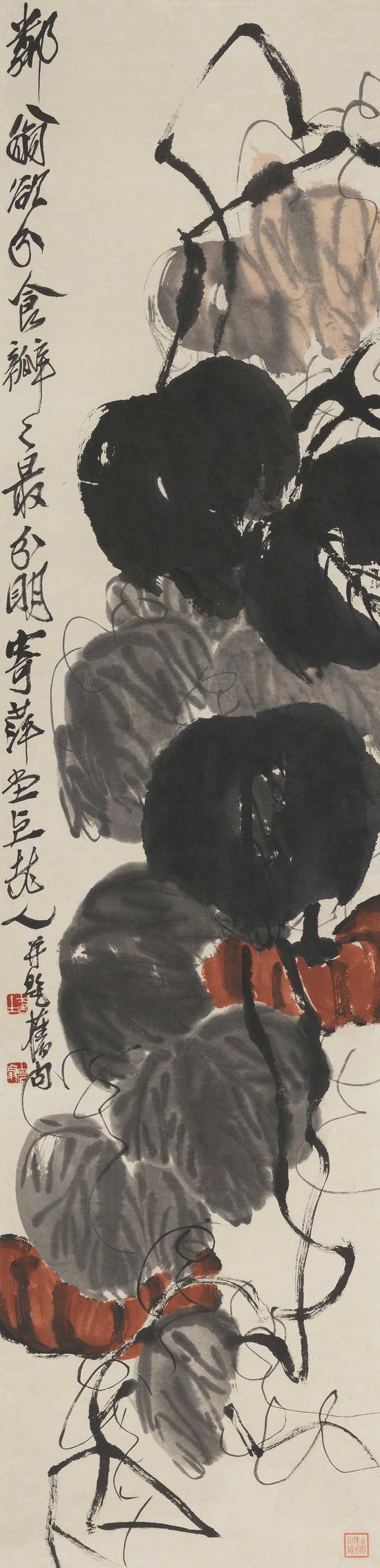 齐白石 瓜秧绵延    纸本立轴    尺寸:135×32.5cm
