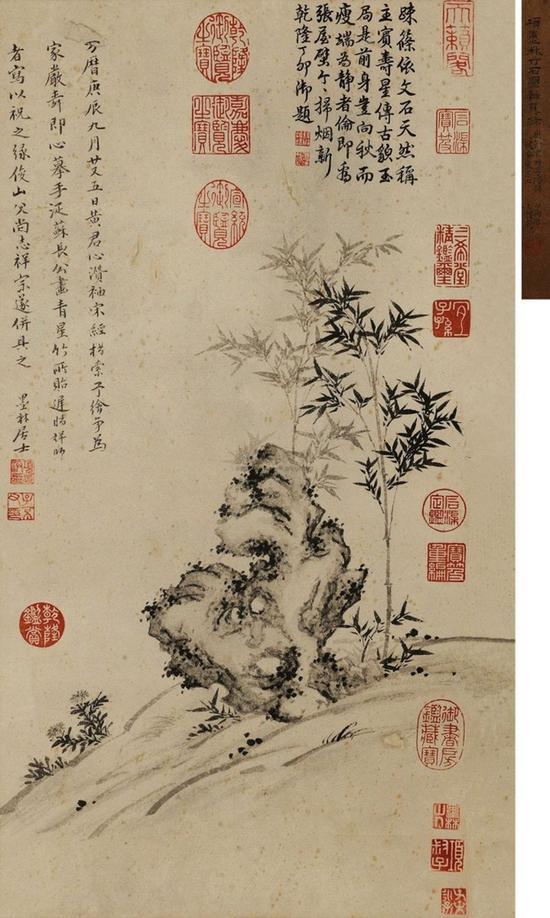 明代大藏家项元汴画的《竹石图》,两位爱盖章的藏家在此相遇。 其上有作者项元汴的钤印,也有藏家乾隆、嘉庆两位皇帝的鉴藏印 北京保利拍卖供图