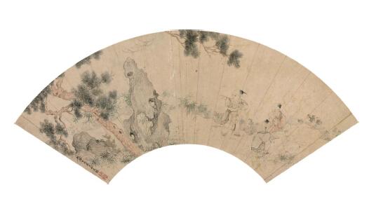 金廷标   花圃婴戏 扇面镜片 纸本设色