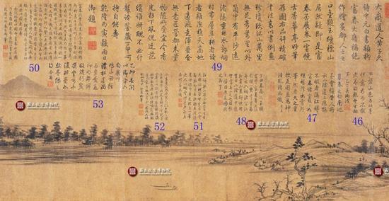 《富春山居图》(子明卷)局部 为明末摹本 乾隆帝在其上提下50多处题跋 图片来自网络