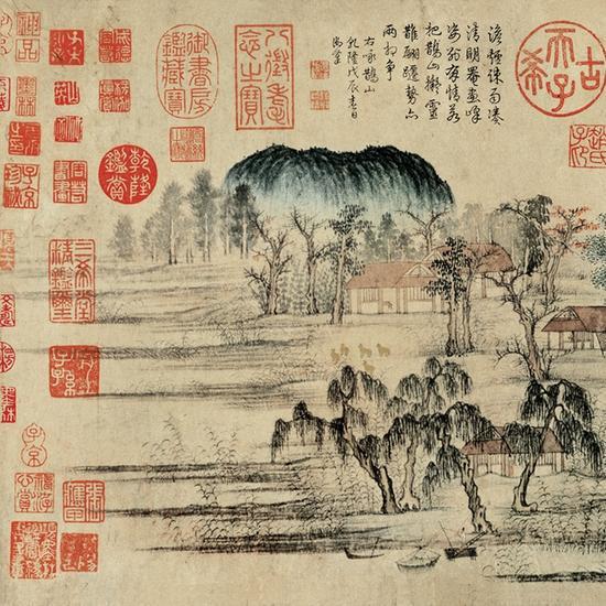 元代 赵孟頫 《鹊华秋色图》上的鉴藏印也颇多 图片来自网络