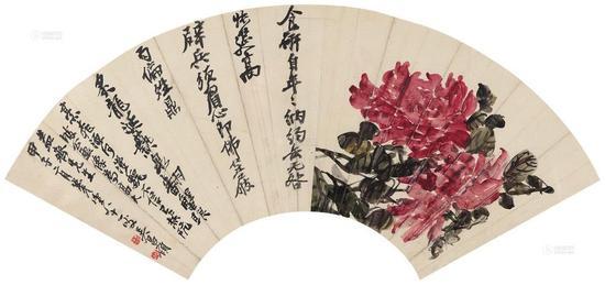 吴昌硕《牡丹锦鸡图》