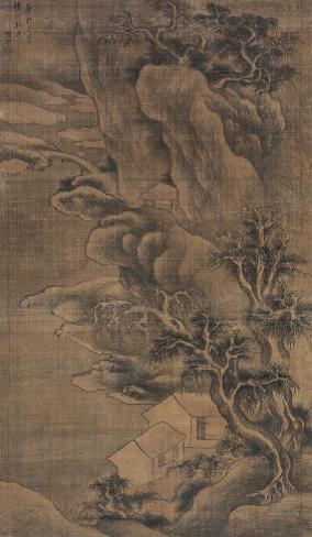 1245樊云 (清)深山隐居图绢本 立轴124 × 72 cm