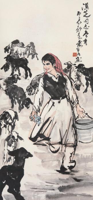 332黄胄(1925-1997)牧羊女纸本 立轴125 × 59 cm