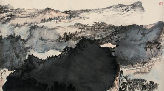 377张大千(1899-1983)晚山图纸本 镜心66×117cm