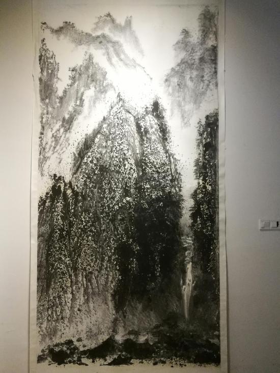 弗朗西斯·丁《墨色山河》纸本水墨 150cmX380cm
