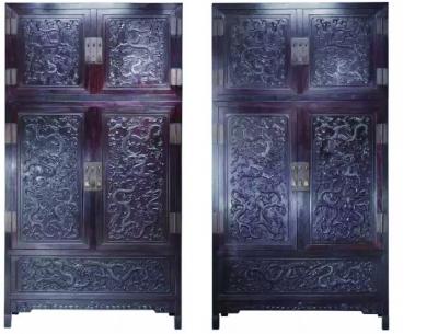 清乾隆 紫檀高浮雕九龙西番莲纹顶箱式大四件柜