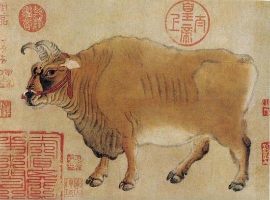 现藏于北京故宫博物院的《五牛图》(局部)。