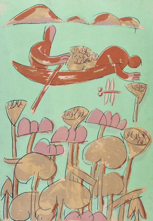 采莲图 广军 丝网套色 1985年 76x53cm 中国美术馆藏