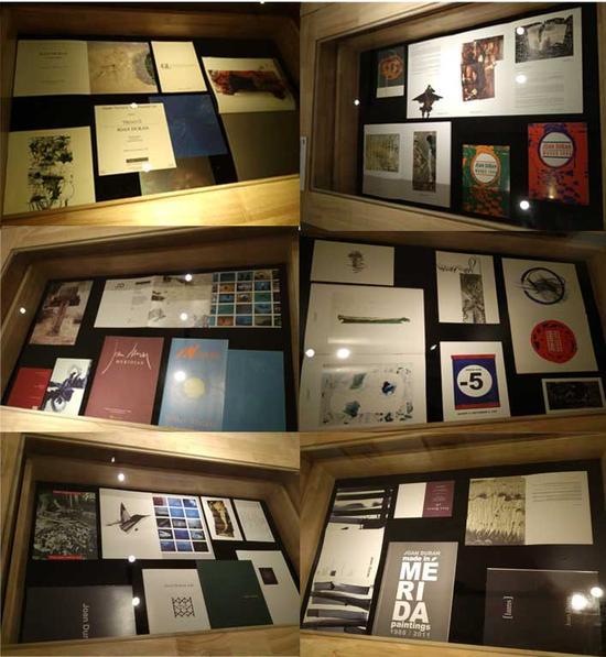 这六张展桌展示的是杜兰1967年以来,在各国画廊、博物馆和艺术中心举办的35个展图录和邀请函 美国(10场),墨西哥(10场),西班牙(4场),伯利兹(4场),危地马拉(4场),多米尼加共和国(1场),阿鲁巴(1场),古巴(1场)