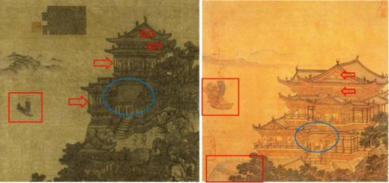 图八:左上海博物馆夏永《滕王阁图》,右仇英《临滕王阁图》
