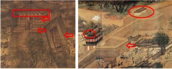 图二:左北宋张择端《清》图局部,右明代仇英《清》图局部