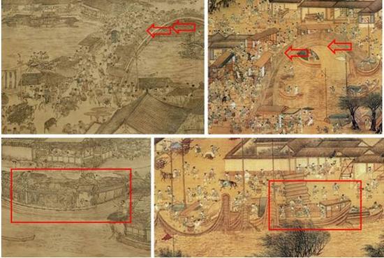 图三:左、中北宋张择端《清》图局部,右明代仇英《清》图局部