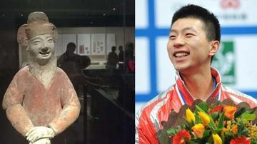 博物馆陶俑撞脸乒乓球奥运冠军马龙