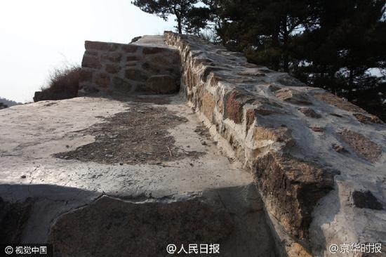野长城被砂浆抹平