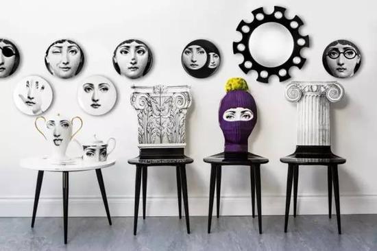 设计师Piero Fornasetti 的艺术语汇被运用到各种日常物件上