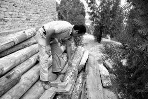 维修工人称拆下来的木料都已破败不堪 华商报记者 杨虎元 摄