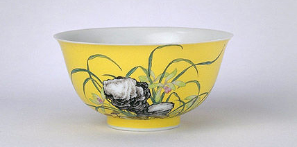 清雍正·珐琅彩兰石纹碗 故宫博物院馆藏