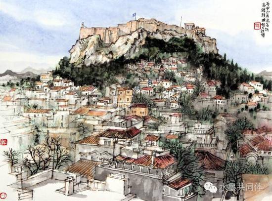 希腊雅典写生 33.5cm x 45cm  2016 年