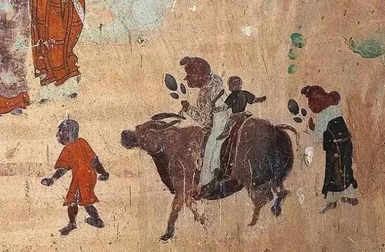 合家拜佛:莫高窟第323窟(初唐) 中国佛教史迹画之僧俗迎石佛入通玄寺