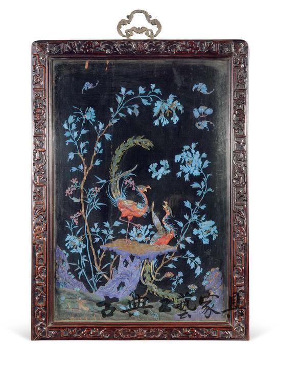 图3 红木框黑漆点翠凤凰牡丹纹挂屏