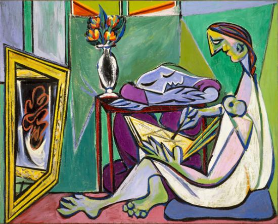 《缪斯》,1935,毕加索,铅笔、印刷字母及布面油画