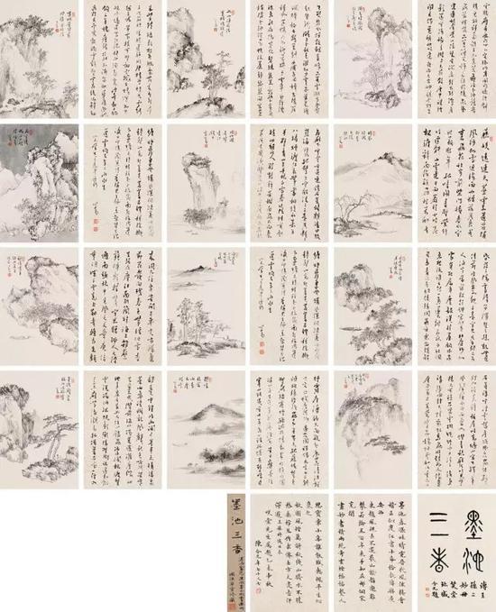 溥儒 《墨池三香》    1955年作    纸本册页(十二开) 尺寸:28×19cm×24
