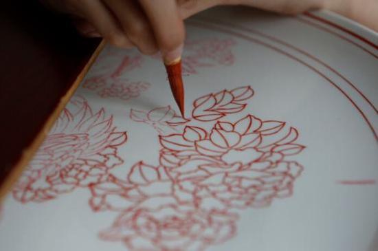 八义窑红绿彩复烧 红绿彩彩绘工艺