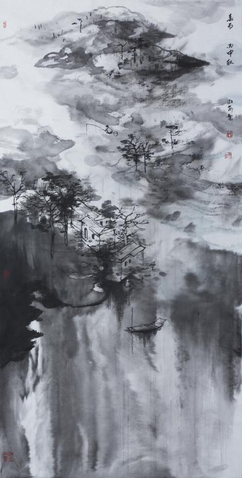 《春雨》纸本136x68cm 2016年