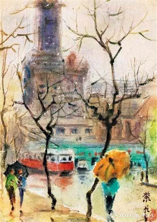 关紫兰《上海街景》