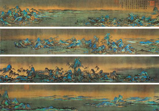 王希孟《千里江山图》,绢本青绿设色,纵51.5厘米、横1191.5厘米,北京故宫博物院藏