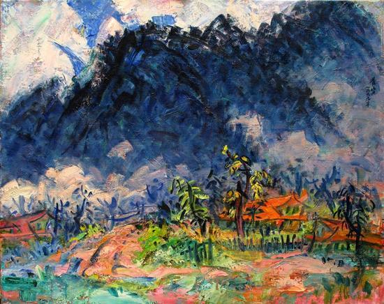 李秀实 山居辑系列;谷雨、1999年、麻布油画、80.3X100.8第九届全国美术作品展1999