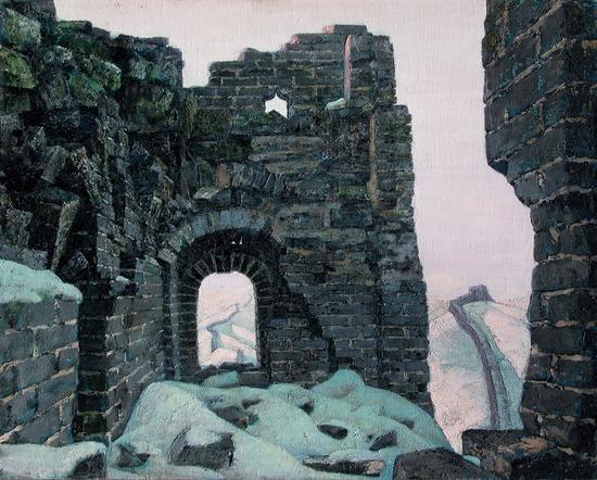 李秀实 蜿蜒千秋系列----战鼓余音、1988年、麻布油画、72.8X90.9