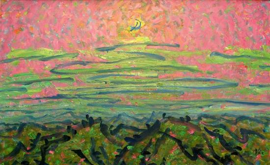 李秀实 《山月随人归》97X162,油画、麻布,2003年