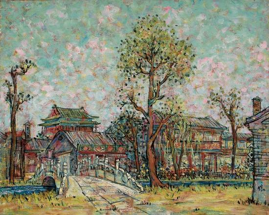 李秀实 京华遗韵系列;夏午、1991年、80.3X100.8.麻布油画