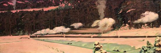 李秀实 春到兴安岭 1972年-之邀 将此画放大为180x540 并为其收藏