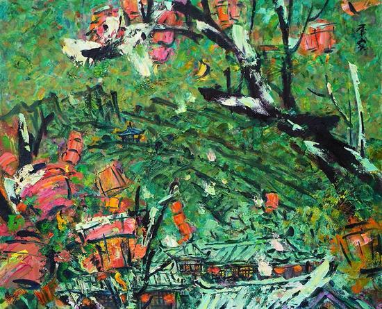 李秀实 正月雪系列--西山月;2016年、麻布油画、80X65