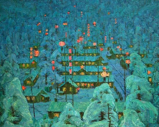 李秀实 年年有余    90.9  72.8 cm  1983  中国绘画展1987