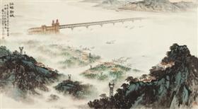 钱松嵒《江畔新城》,在北京华辰2012春拍会上流拍