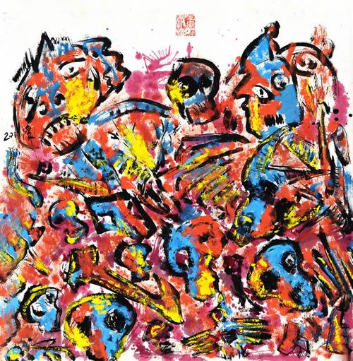 娄濛  重金属系列之《一》 70x70cm 纸本设色   2011