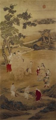清代丁观鹏《弘历洗象图》,北京故宫博物院藏