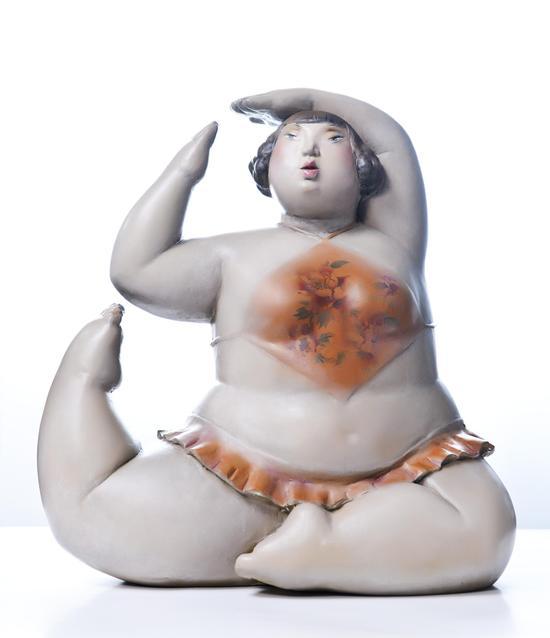 快乐的小胖妞NO12(材质:树脂_尺寸:80cmX80cmX40cm_年代:2013年