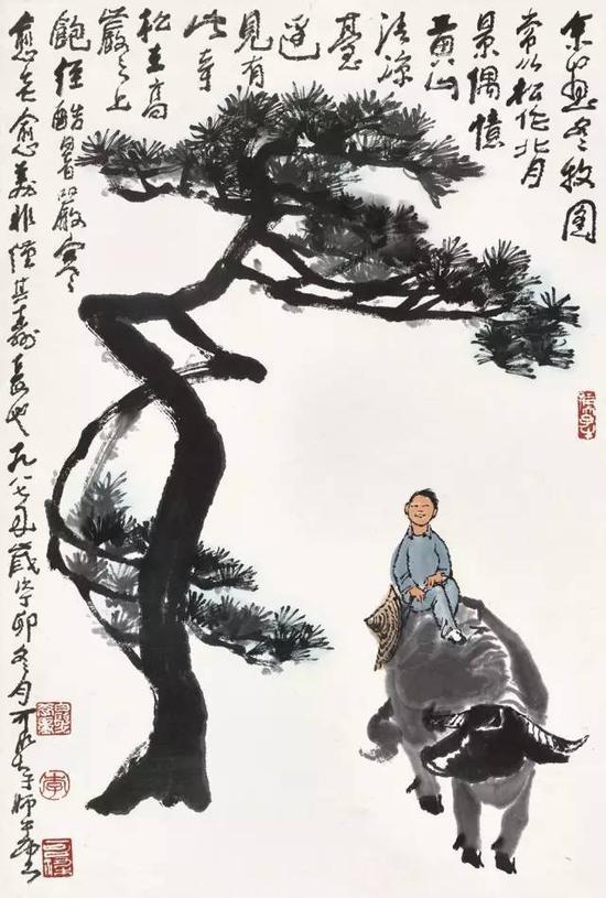 Lot 421 李可染 奇松牧趣 镜心 设色纸本 68.5×45.5 cm。 约2.8平尺