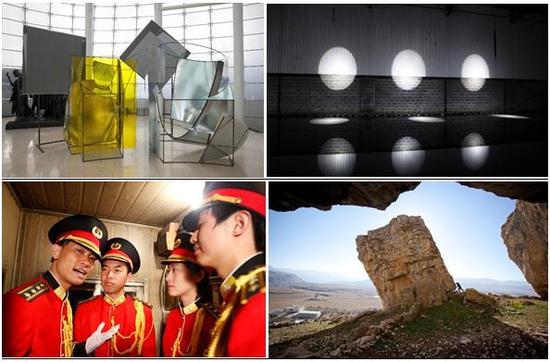 由左上起顺时针方向:《全景》,刘韡,2016年,混合媒体,尺寸可变,(展览现场:Plateau,三星美术馆,2016 年) ©刘韡工作室,摄影:Jackal Lau;维沙‧达尔,《马尔殊- 暴风神》,2016 年,含束光灯和反光池的特定场域装置;陶思‧马哈奇耶娃,《奋进》,2010 年,录像作品,9 分钟;胡向前, 《 The Labor Song I Night》,2016 年,录像艺术及表演,尺寸可变。图片由上海当代艺术博物馆提供。