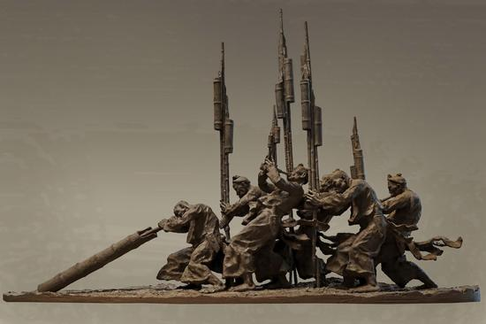 邓柯作品_《民族系列——岜沙人的芦笙节》 长190cm,宽90cm,高175cm 2014年