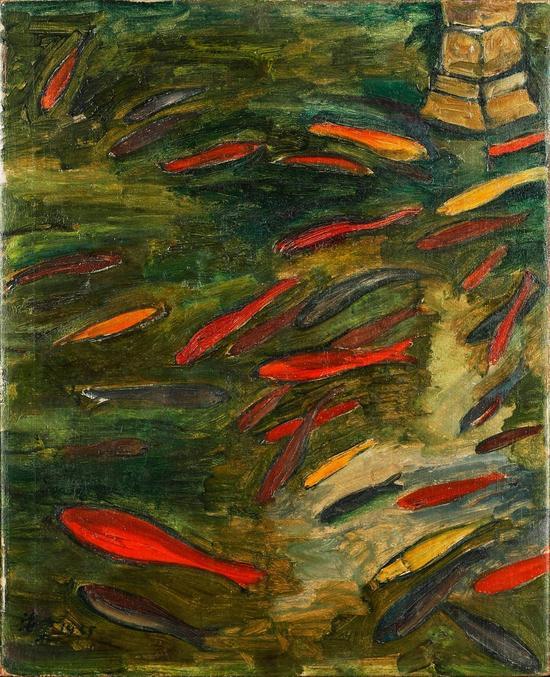 2016西泠秋拍 刘海粟(1896-1994)玉泉观鱼 布面油画 1935年作 签名:海粟 1935